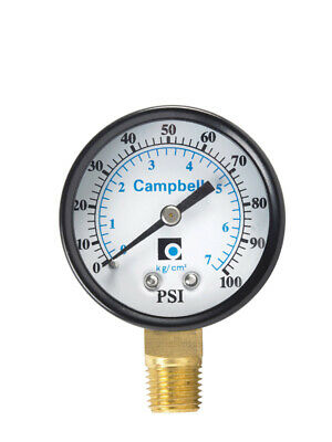 "Campbell Pressure Gauge 0-100 Psi 2 "" Polycarbonate < 0.25 % Lead 0-100 Psi"