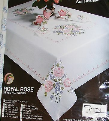 """New Tobin """"ROYAL ROSE"""" TABLECLOTH Embroidery Kit - Soil Release-Comb.Ship. Offer"""
