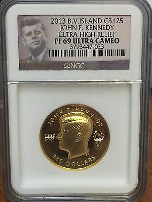 2013 B.V. Island $125 Gold John F. Kennedy Ultra High Relief PF69 Ultra Cameo