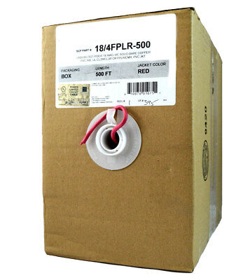 18/4 FPLR Solid Red Riser Power Limited Fire Wire Security Alarm CL2R/3  500 FT