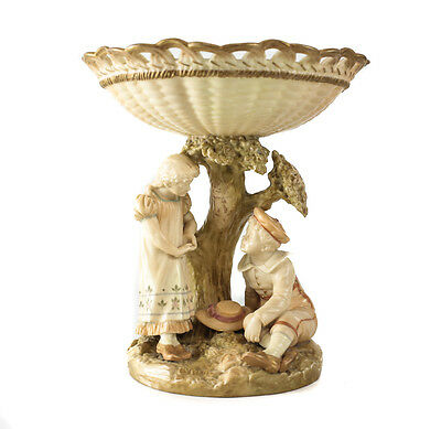 Royal Worcester Porcelain Blush Ivory Reticulated Tazza 1867. Figural Boy & Girl