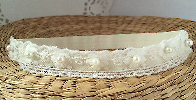 Baby hair band, ivory lace headband for christening baptism photo prop handmade