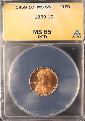 1959 Lincoln Memorial Cent Gem Unc Anacs Ms65 Red Us Coin T549