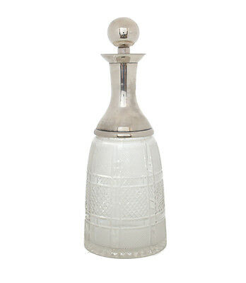 Large Solid Silver Fitted with Solid Silver Stopper Cut Glass Decanter, c. 1850