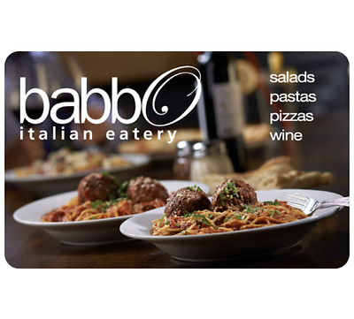 Babbo Italian Eatery Gift Card - $25 $50 or $100 - Email delivery