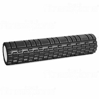 Grid Foam Roller Trigger Point Gym Sports Massage Physio Yoga Roller 61cm Black