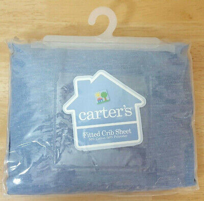 Carters Blue Chambray Fitted Crib Sheet USA Made New Old Stock