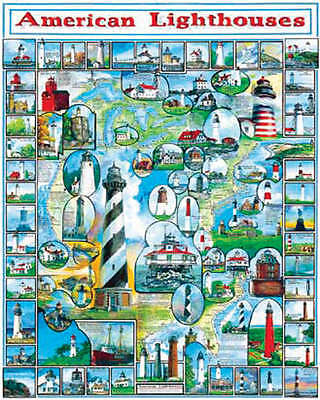 """Jigsaw Puzzle By The Sea  1000 Pieces 24""""X30"""" American Lighthouses WM132"""