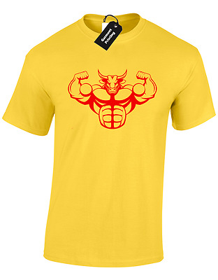 Bodybuilding Bull Mens T Shirt Training Top Gym Lifting Weights Fitness Mma
