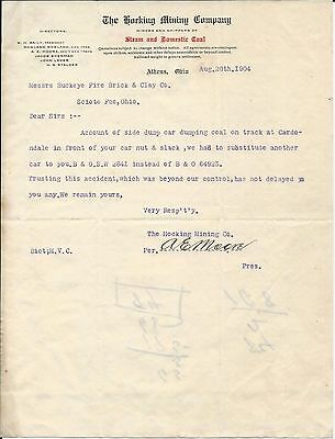 1904 Athens OH Dr Hocking Mining Co Letterhead Directors List Baily/Rowland