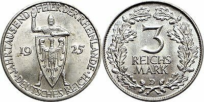 1925 D Germany 3 Reichsmark Silver Rhineland Almost Uncirculated KM# 46
