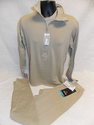 Polartec Army Tan Waffle Set Medium/regular Grid Fleece Shirt & Pants Level 2 A0