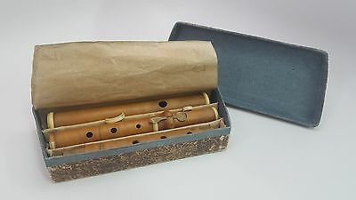 ANTIQUE RONNBERG SINGLE KEY BOXWOOD FLUTE ca. 1860 W/CASE