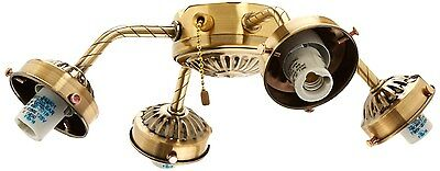 Four-Light Antique Brass Straight Arm Fitter - Ceiling fan Adaptable