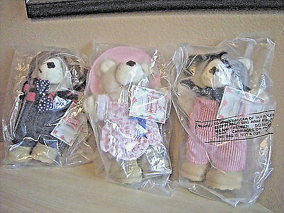 Wendy's Furskins Bears Dudley Hattie Farrell All With Tags!!! 1986 Happy Meals