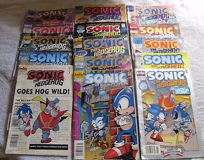 Sonic the Hedgehog LOT of fifteen (15) comic books; used items sold as is; LOOK!