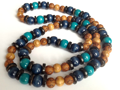 "Ethnic Inspired: Mens Tribal Long 30"" Blue Navy Brown Long Wood Acrylic Necklace"