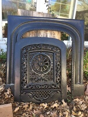 Antique Black Wrought Iron Fireplace Filagreed Insert and Surround