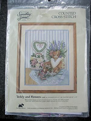 Something Special Teddy and Flowers Stamped Cross Stitch Kit 14x18 New 1989