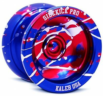 Blue Red Silver Splashes Yo-Yo Professional Aluminum Sidekick Pro YoYo