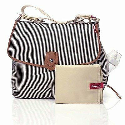 "'Babymel Changing Bag Satchel Navy Stripe with changing mat ""Fast dispatch"""