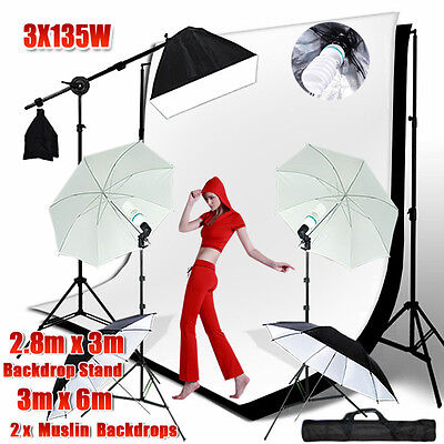 Photo SOFTBOX Boom Arm Lighting Stand 2xMuslin BACKDROP Umbrella Reflector KIT