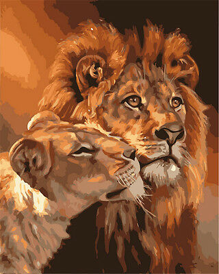 Painting By Numbers Digital Oil Painting DIY Oil Kits Lion Frameless Canvas Home
