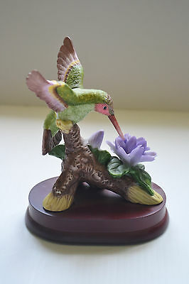 Vintage Porcelain Hummingbird Figurine On Wood Base