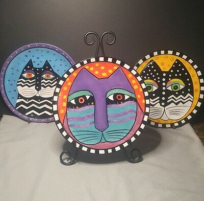 "Laurel Burch Cat Plates Large Cat, 2- 8"" D and 1- 8 12"" D"