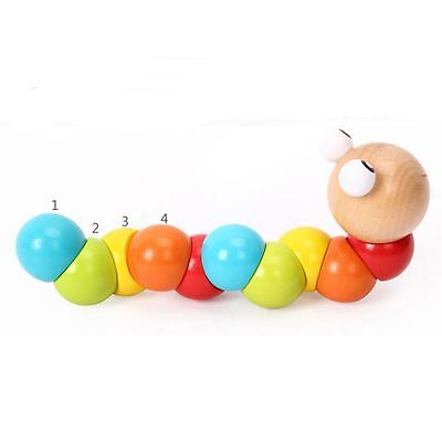 Kids DIY Wooden Gift Baby Infant Educational Toy Insect Twist Caterpillar
