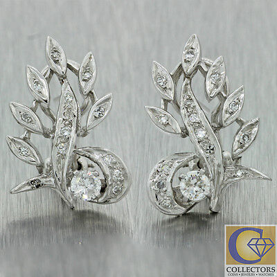 1920s Antique Art Deco 14k Solid White Gold .76ctw Diamond Leaf Earrings