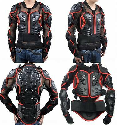 Red Cycling Motorcycle Full Body Armor Men's Spine Chest Vest Protective Jacket