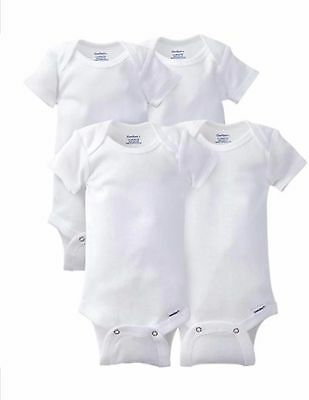Gerber 4 Pack Short Sleeve Onesies One Piece Snap White Newborn-3T