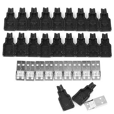10pcs Type A Male USB 4 Pin Plug Socket Connector With Black Plastic Cover AM