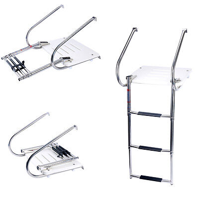 Swim Platform  3 Step Telescoping Ladder Boat Inboard Fiberglass W/2 Rails New