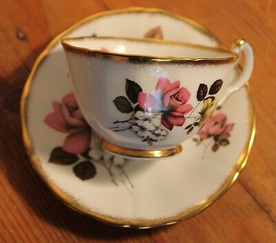 Royal Adderley Cup & Saucer Set- Roses and Gilding VGC