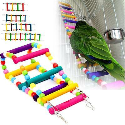 Bird Ladder Toy Parrot Cage Toys Wooden Swing Pet Parakeet Cockatiel Bridge#GA