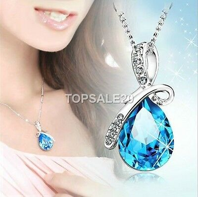 925 Sterling Silver Plated Rhinestone Crystal Chain Necklace Pendant Jewellery