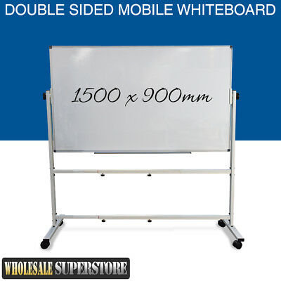 MOBILE WHITEBOARD 1500 x 900mm Magnetic Double Sided Commercial Quality + STAND