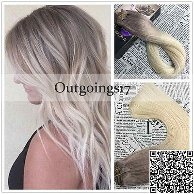 7A European Remy Clip in Human Hair Extensions Ombre Highlight Brown Ash Blonde