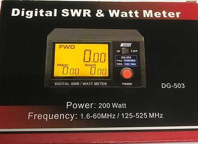 Nissei Digital SWR/Power meter.  1.6 to 525 MHz. Accurate. 3-inch display