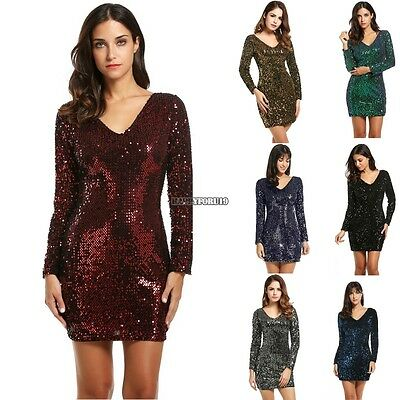 Women's V-Neck Long Sleeve Sequined Cocktail Bodycon club party Mini Dress hfor