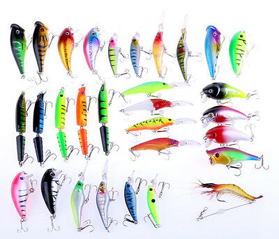 30pcs Fishing Lures Mixed Minnow Popper Crank Baits Hooks Saltwater Freshwater