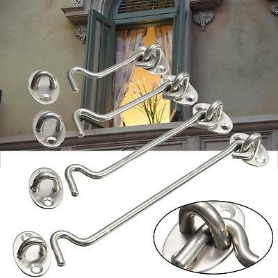 """Cabin Hook and Eye Shed Gate Door Latch 3"""" 4"""" 6"""" 8"""" Stainless Steel W/Screws #4"""
