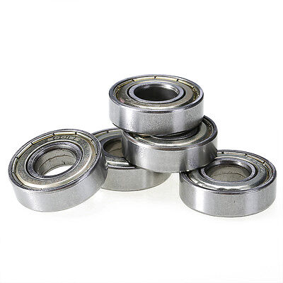 5 Pieces 12mm x 28mm x 8mm 6001ZZ Shielded Deep Groove Radial Ball Bearings