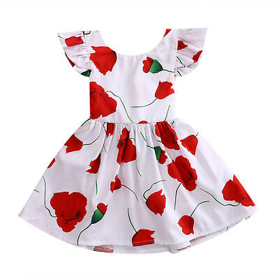 Flower Girl Floral Bow Tutu Dress Toddler Baby Princess Party Wedding Skirt Gown