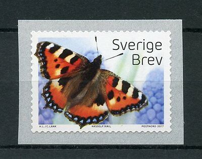 Sweden 2017 MNH Butterflies 1v S/A Coil Insects Butterfly Stamps