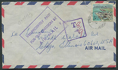 Jamaica 1972 cover to USA with INSUFFIENTLY….AIRMAIL & POSTAGE DUE HS