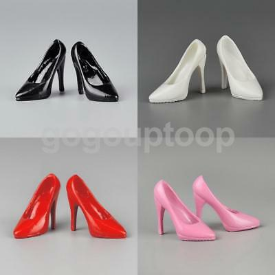 "White 1//6 Female High Heel Pumps Shoes For Phicen Kumik Hot Toys 12/"" Figures"