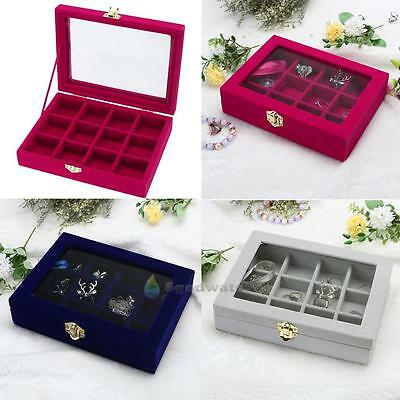 Velvet Glass Jewelry Ring Display Tray Holder Earring Storage Box Organizer Case